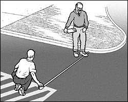 two men are measuring the width of a driveway