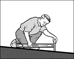 Diagram of a man measuring the slope of a ramp